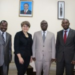 Tanzanian Ambassador Mbelwa Kairuki(2nd right), Ms. Georgina Roberts, Deputy High Commissioner of New Zealand, Mr. Mkumbwa Ally (left), Acting Head of Government Communication Unit and Mr. Khatibu Makenga, Foreign Service Officer in the Ministry of Foreign Affairs.