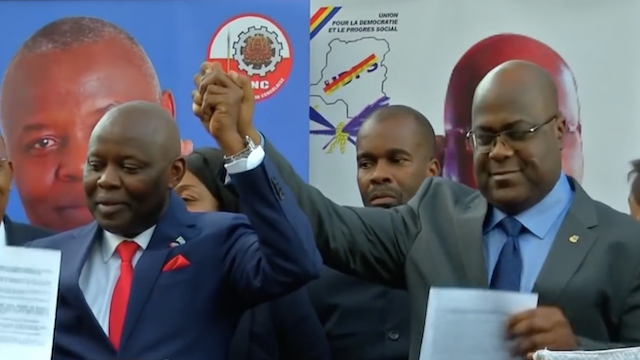 DRC political leaders Felix Tshisekedi and Vital Kamerhe during 2018 presidential elections campaign