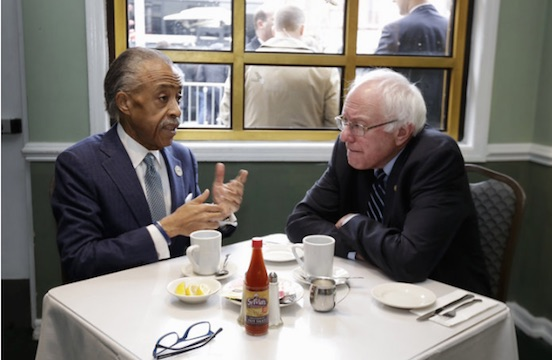 Bernie Sanders Having Breakfast with Rev Al Sharpton at Sylvia's in Harlem