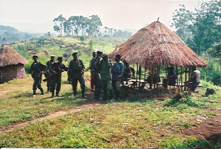 RUD and RPR troops patrolling a military position in Eastern DRC
