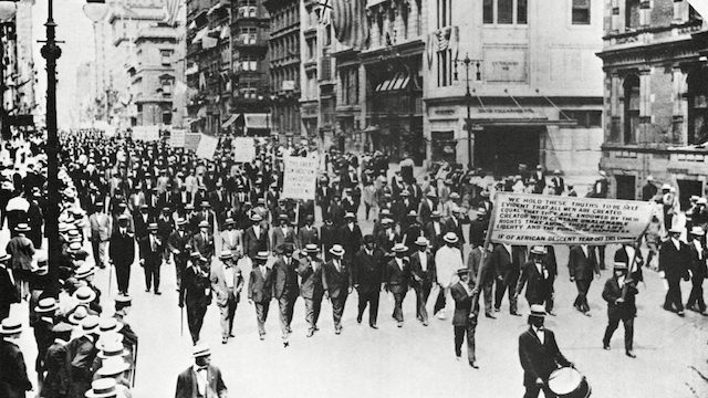 Silent March, July 28, 1917: Black Men in black suits