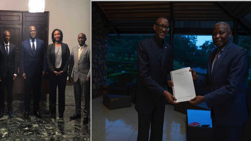 Felix Tshisekedi, Yvonne Makolo, Col Kalibata in  Kinshasa, Vital Kamerhe with Paul Kagame in Kigali,  March 2019