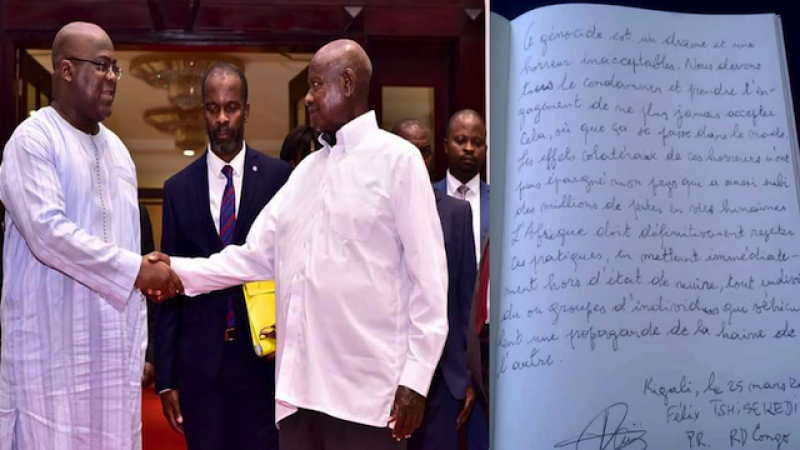 Felix Tshisekedi meets Ugandan President and leaves a note at a memorial site in Rwanda, March 2019