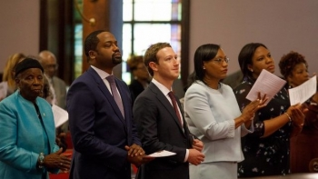 Mark Zuckerberg attend a Church Service in March 2017 at Mother Emanuel African Methodist Episcopal Church in Charleston, S.C.