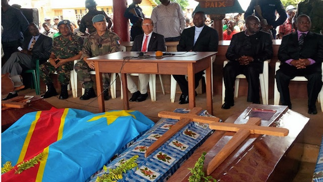 MONUSCO Head Martin Kobler and North Kivu Governor Julien Paluku  lead burial ceremonies of civilians massacred in Mavivi-Beni