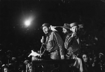"Jan. 8, 1959 Associated Press file photo;  Cuba's Fidel Castro speaks  at the Batista military base ""Columbia,"" now known as Ciudad Libertad, in Cuba."