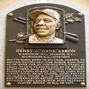 Hank Aaron's Hall of Fame plaque at the Baseball Hall of Fame in Cooperstown, New York